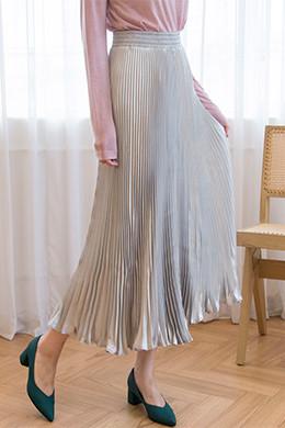 P8378缎面褶皱绑带长裙(5color)