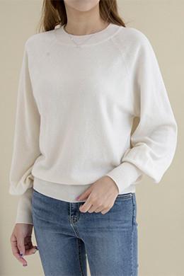 P8399羊绒羊毛混纺气球袖长袖T恤