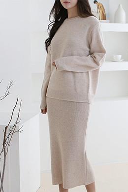 P8440羊羔毛针织半身裙套装