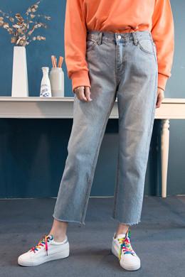 P8757后弯阔腿牛仔长裤(SMLXL)