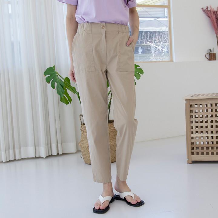 P9677亚麻大口袋绑带松紧裤(SML)