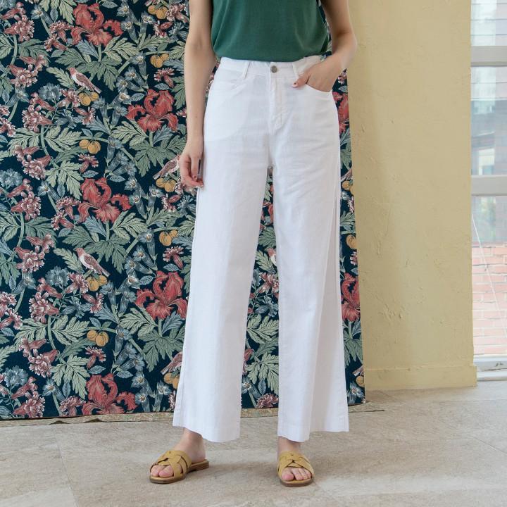 P9753 亚麻棉质阔腿裤 (SML)
