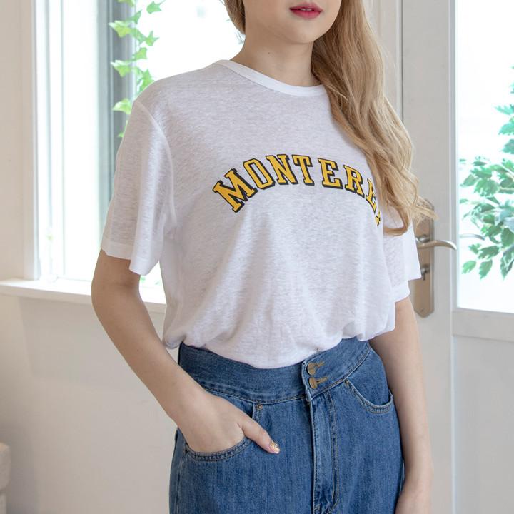 P9829 亚麻人造丝印花宽松版型 T 恤