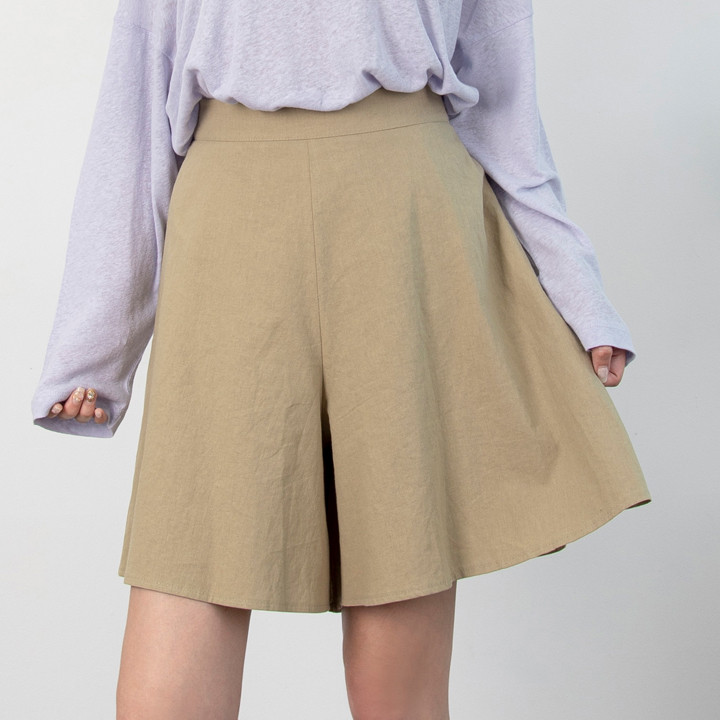 P9848 亚麻裙裤短裤