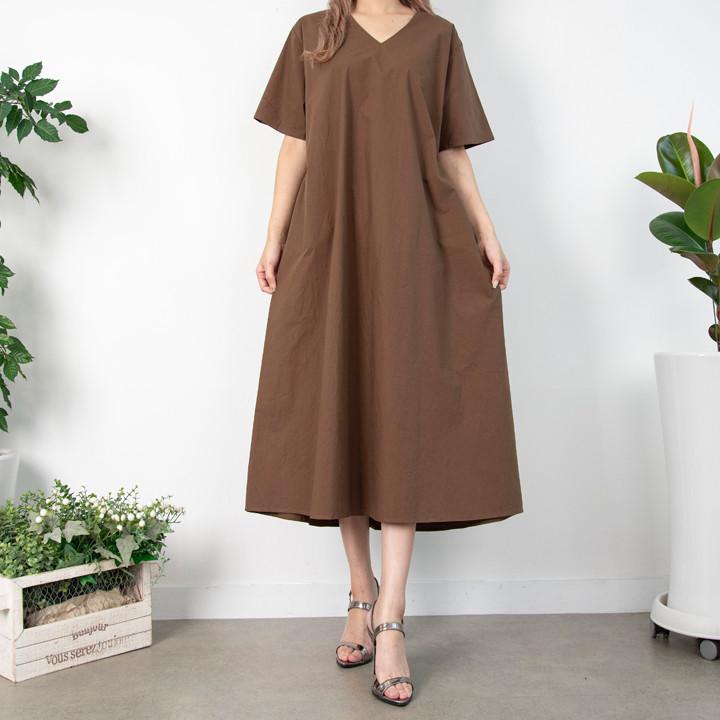 P9844 V领长款连衣裙