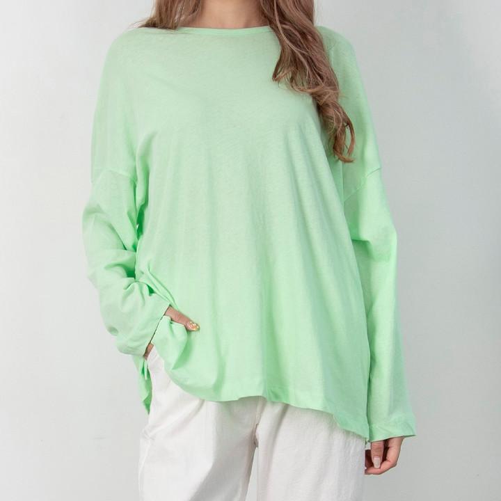P9842 轻质棉质宽松长袖 T 恤