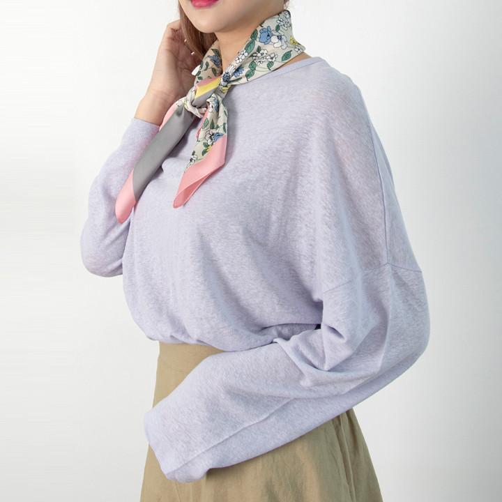 P9841 亚麻棉宽松长袖 T 恤